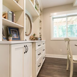 White Cabinets in Custom Living Space Remodel in West Michigan