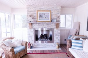 Brick Fireplace Custom Home Addition in West Michigan