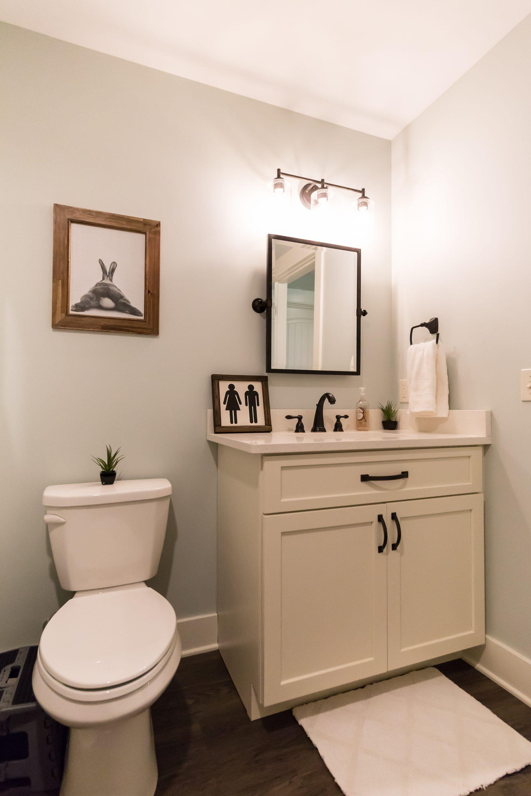Toilet and Custom Cabinets in Custom Bathroom Remodel in West Michigan