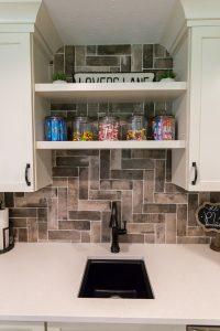 Custom Sink with Tile Backsplash Living Space Remodel in West Michigan